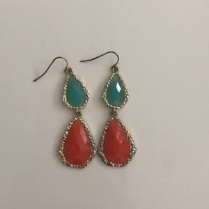 Gold, Teal, and Orange Earrings